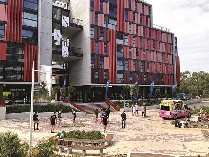 Deakin University Melbourn Burwood campus exterior of red building