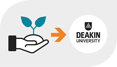 Supportive learning environment, plant in hand graphic USP for Deakin University Pathways