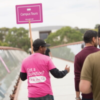 A student guide at the Deakin orientation week