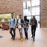 Students walking inside Burwood campus building