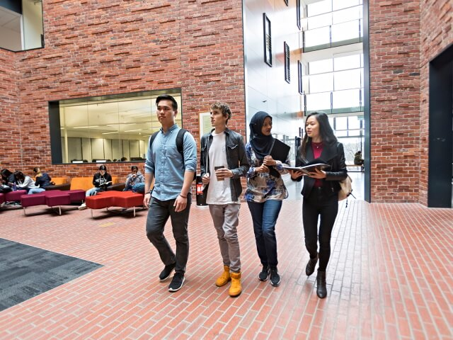 Students walking inside burwood campus